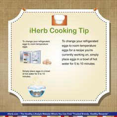iHerb Cooking Tip: Here's an easy way to get refrigerated eggs to room temperature!