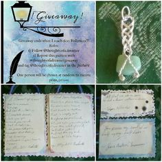 So as I was sitting there wondering what giveaway to enter i remembered snap!  I have a giveaway of my own!!!! Go to the original post at the top left hand corner to see see how to enter for a chance to receive 2 bookmarks 2 original poems and 1 wrapped Jade stone when I reach 600!!! _____ #giveaway #600 #followme #prizes #originalpoetry #bookmarks #wrappedstone #jadependant #poe #austen