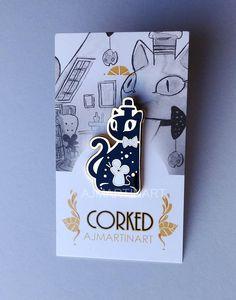 Corked Cat Bottle Hard Enamel Pin by AJMARTINART on Etsy