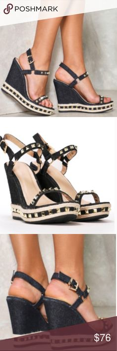 NEW NASTY GAL BLACK AND GOLD STUD WEDGES SANDALS No trades. BRAND NEW - (purchased directly from the NASTY GIRL website and SOLD OUT ONLINE!) are these stylishly hip black and gold wedge sandals with triangular stud detailing. Rise to the top! This wedge features a denim-inspired black wedge and straps, partial jute sole, ankle strap closure, and gold pyramid stud detailing throughout. Size 38 - Nasty Gal's website equates this to a US size 7 however I am 7.5 and these fit me perfect…