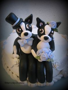 Boston Terrier Wedding Cake Topper ~ Polymer Clay Keepsake by Trina's Clay Creations ~ via Etsy.