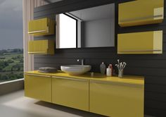 Muted Yellow Vanity With Matching Storage Cabinets