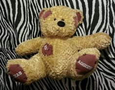 NCAA College Football Texas A&M Aggies Embroidered Bear ~EUC #TexasAMAggies Johnny Football Manziel
