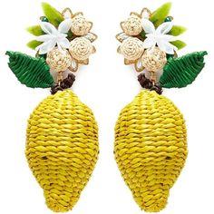 Mercedes Salazar 'Wild Lemon' drop clip earrings ($165) ❤ liked on Polyvore featuring jewelry, earrings, yellow, yellow jewelry, earring jewelry, lemon earrings, braid jewelry and mercedes salazar jewelry