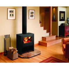 Lopi Camano slow combustion wood heater by Abbey Fireplaces. Modern Industrial, Modern Rustic, Modern Farmhouse, Free Standing Gas Stoves, Artificial Fireplace, Electric Fires, Gas Fireplace, Fireplaces, Wood Burner