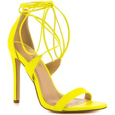 Liliana Women's Flight - Neon Yellow (75 390 LBP) ❤ liked on Polyvore featuring shoes, lace up shoes, synthetic shoes, liliana shoes, laced shoes and vegan shoes