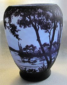 "DAUM, NANCY SIGNED ACID ETCHED CAMEO GLASS VASE LANDSCAPE,  8 3/4"" H 