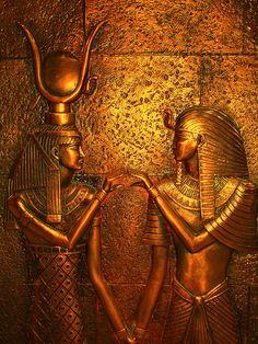 Ancient Egypt - Goddess Hathor and Farao