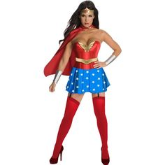Wonder Woman Corset Adult Costume (92 CAD) ❤ liked on Polyvore featuring costumes, halloween costumes, party halloween costumes, transformer halloween costume, sexy superhero costumes and sexy halloween costumes