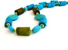 Ooak statement fiber necklace in and Turquoise olive by Gilgulim, $56.00