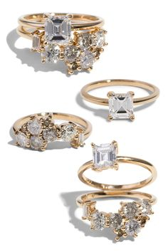This custom curved cluster band features four heirloom round diamonds ranging in size from .14ct - .2ct, an heirloom baguette diamond, and two .02ct champagne diamonds. Set in 14kt yellow gold with a polish finish and paired with a custom Prong Set Solitaire Engagement Ring which features an heirloom .75ct Asscher cut diamond in 14kt yellow gold with a polish finish.