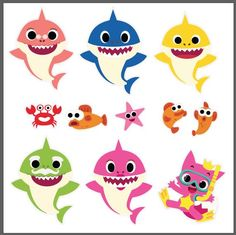 6 Family Sharks Character SVG layered and images .eps files, Silhouettes Complete Sea Clipart handcrafted in scalable format Shark Party Decorations, Baby Shark Doo Doo, Shark Family, Shark Cake, Baby Ruth, Baby Driver, 2nd Birthday Parties, Names Baby, Girl Names