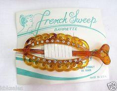 361-Vintage-Hair-Barrettes-French-Tortoise-Shell-color-Barrette