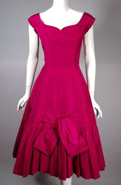 Adele Simpson 1950s party dress unworn fuchsia silk size small from Viva Vintage Clothing SOLD!