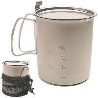 Snow Peak 700 ml Titanium Mug.     Love this mug!!! I generally use the freezer bag method of cooking so there is no cleanup afterwards!    ...