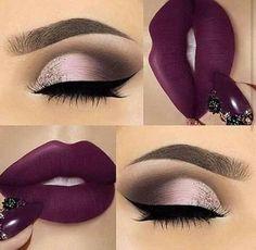 25 Ideas for makeup ideas purple lipstick make up Cute Makeup, Gorgeous Makeup, Glam Makeup, Pretty Makeup, Skin Makeup, Makeup Inspo, Eyeshadow Makeup, Makeup Inspiration, Beauty Makeup