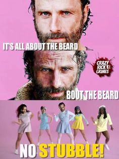 "I'll be singing this all day. LOL ""I'm all about that beard"" -Rick Grimes The Walking Dead funny meme"