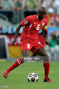 Hatem Trabelsi of Tunisia runs with the ball during the FIFA Confederations Cup match between Tunisia and Germany on June 18 2005 in Cologne Germany