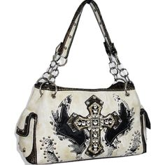 Handbags Bling More Ivory Fashion Cross Wing Purse Western Style