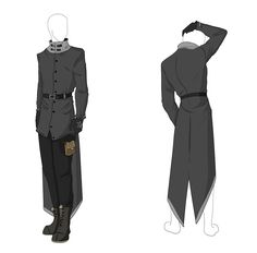 Custom Outfit Adopt - Grey Longcoat by ShadowInkAdopts.deviantart.com on @DeviantArt