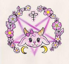 hail satan, be kawaii Art Print Pastel Goth Art, Satanic Art, Baphomet, Creepy Cute, Kawaii Art, Cute Wallpapers, Dark Art, Cool Drawings, Illustration