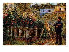Monet Painting in His Garden in Argenteuil Premium Poster by Claude Monet at Art.com