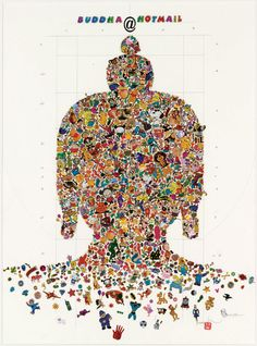Gonkar Gyatso Buddha@hotmail-1 2006 stickers, pencil on treated paper 28 x 20 inches