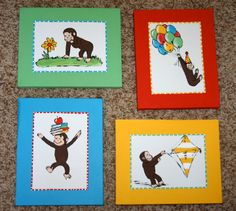 For Liam's room! Could maybe DIY with pages from Curious George books, scrapbook paper, & modge podge!