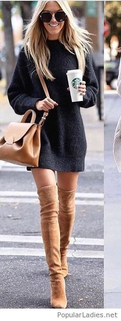 Nice sweater dress with brown accessories