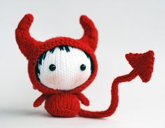 Halloween Devil Doll. Knitting pattern knitted in the round