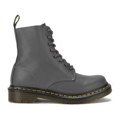 Dr. Martens Women's Core Pascal 8-Eye Virginia Leather Boots - Lead ($155) ❤ liked on Polyvore featuring shoes, boots, grey, flat leather boots, real leather boots, dr martens boots, gray boots and leather flat shoes