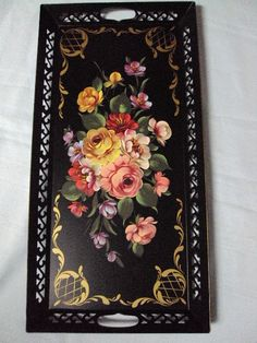 """Vintage Toleware Tray Hand Painted Floral Design Trimmed in Gold 24"""" Extra Long"""