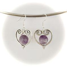 Handmade amethyst pendant earrings made with sterling silver hooks Pendant Earrings, Heart Earrings, Gemstone Earrings, Drop Earrings, Handmade Silver, Handmade Items, Handmade Gifts, Amethyst Pendant, Hooks