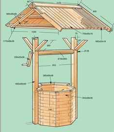 Diy Garden Fence, Garden Deco, Garden Crafts, Wishing Well Garden, Wishing Well Plans, Woodworking Projects Diy, Diy Wood Projects, Outdoor Projects, Diy Cnc Router