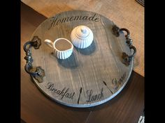 **In Stock- Next day shipping Beautiful antique handle wooden tray. Tray is stained with general finishes gel gray and hand lettered with chalk black. Sealed for a lasting finish. Measures approximately 15 round. Wooden Projects, Wooden Crafts, Rustic Furniture, Diy Furniture, Kitchen Furniture, Furniture Movers, Handmade Furniture, Luxury Furniture, Furniture Design