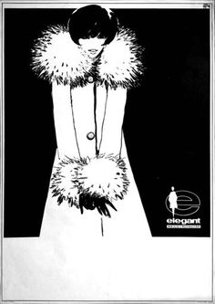 """Elegant was a famous trademark of the of May Fashion Factory that was in Pécs. This simple but decorative poster emphasizes the charm of women."