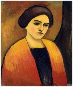 August Macke, Frauenkopf in Orange und Braun / Tête de femme en orange et marron / Orange and brown women head, 1911