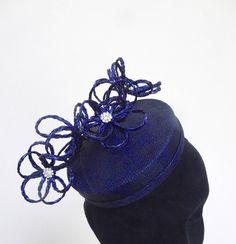 Blue Black Sinamay and Swiss Braid fascinator. by MeerkatMillineryShop on Etsy
