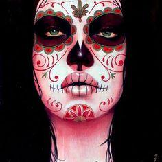 Tete de mort mexicaine maquillage recherche google santa muerte pinterest les calaveras - Maquillage tete de mort mexicaine facile ...