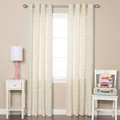 Best Home Fashion 84 in. L Pink Multi Color Dot Curtain Panel - The Home Depot Drapery Panels, Grommet Curtains, Sheer Curtains, Panel Curtains, Striped Curtains, Floral Curtains, Style At Home, Rod Pocket Curtains, White Paneling