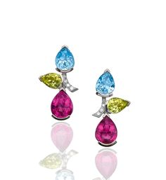 Castaway Gemstone and Diamond Stud Earrings. In 18ct white gold with coloured gems