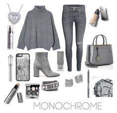 """""""Monochrome: Grey"""" by dazzlers ❤ liked on Polyvore featuring Gianvito Rossi, Fendi, Casetify, Kate Spade, Balenciaga, Urban Decay, Burberry, Chanel, Morgan Lane and Elemis"""