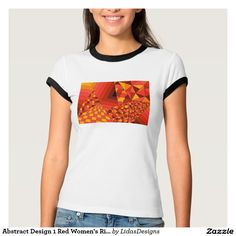 Abstract Design 1 Red Women's Bella Ringer T-Shirt #cool #abstract #colourful #colour #art #geometric #illustration #unique #custom #original #creative #design #tshirts #clothing #fashion