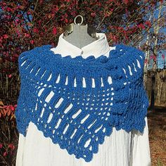 Although elegant enough for formal wear, this asymmetrical wrap would be equally at ease with business dress or blue jeans. The design was inspired by a century-old lace found in an anonymous antique sampler; the instructions for the original lace are included in this file.