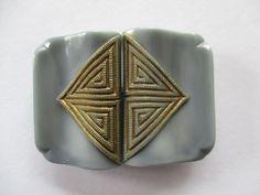 Vintage glass buckle. Art Deco satin grey & gold. noelhumphrey on eBay.