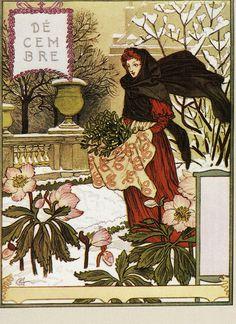 Eugène Grasset | December | Dessins pour le calendrier de La Belle Jardinière (1896)