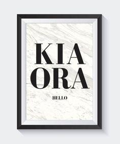 Kia Ora Print New Zealand Art Maori Art Quote Prints Hello New Zealand Art, Maori Art, Kiwiana, Quote Prints, White Art, Nursery Art, Art Quotes, Art Pieces, Lettering