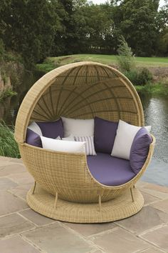 Outdoor / Garden Furniture - Atlanta All Weather Globe with the roof open. Fabric Shown: Durban Violet and Durban Canvas (Large Scatters)br / Natal Violet and Durban Canvasbr / (Small Scatters). Frame Shown: Light Bonano £3,450
