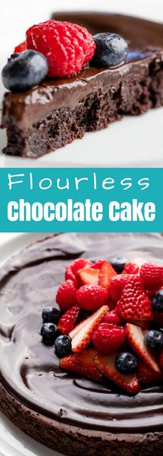 Flourless Chocolate Cake is rich, dense, and fudgy and incredibly easy to make. It's a classic chocolate cake recipe that also just so happens to be gluten-free. #thestayathomechef #flourlesschocolatecake