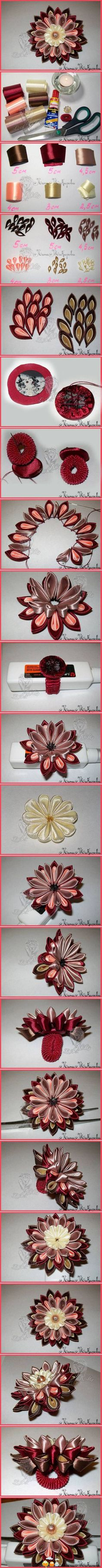 Ribbon flower tutorial multi-colored